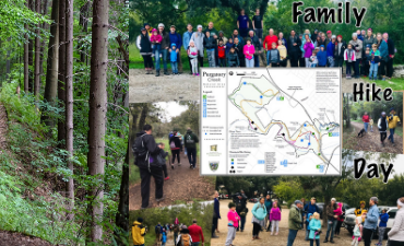 collage of Crockett family hike day at Purgatory Greenspace