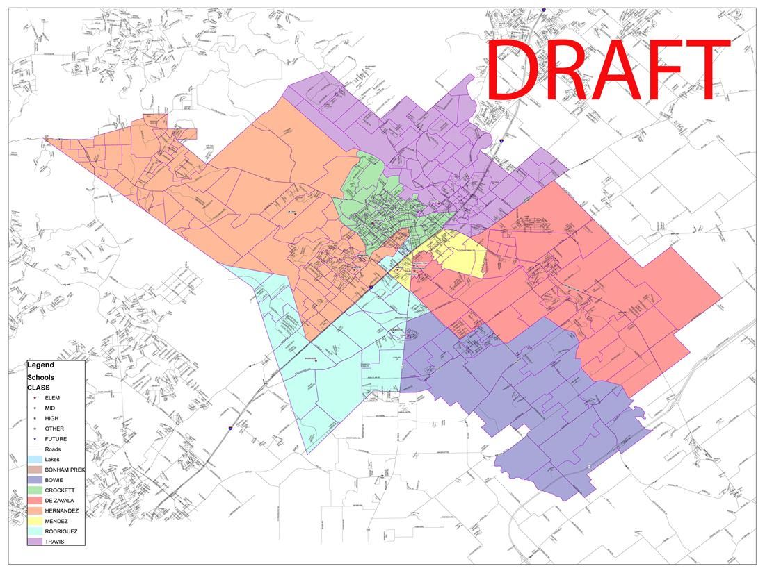 Draft rezoning map of new attendance zones for SMCISD