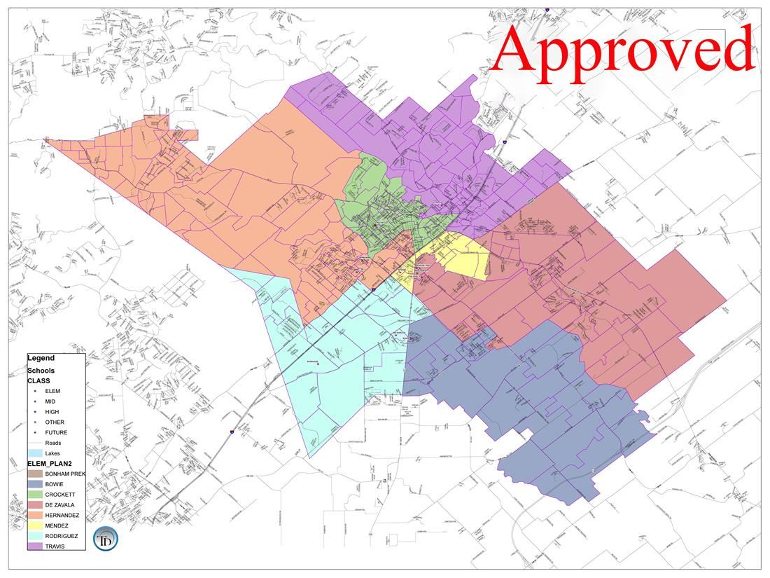 New SMCISD Approved Zoning map outlining the new campus boundary lines