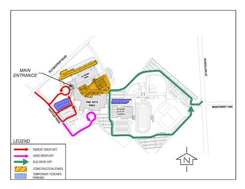 San Marcos HS Bus, Parking and Drop Off Map on